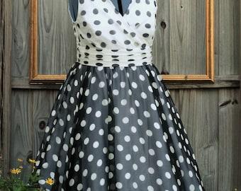 black and white polka dot dress - retro style engagement party dress - black wedding dress - polka dot bridal dress  TARA style