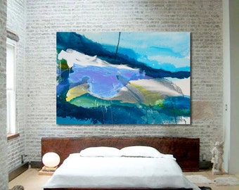 "Contemporary Abstract Landscape Painting, Expressionism, blue, green, yellow, grey 54 x 80"" ""Mountain Mover""   modern stained canvas art"