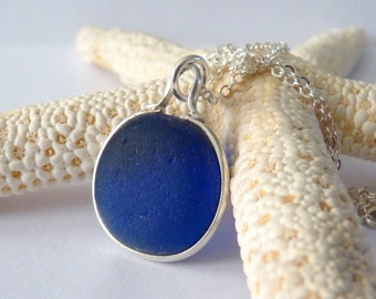 Cobalt Blue Sea Glass Necklace - Genuine English Seaglass Pendant on Sterling Silver Chain - THE DEEP