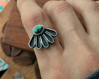 Kingman Turquoise Daisy Ring - Size 8- boho sterling silver flower ponderbird