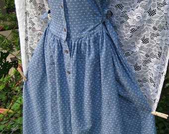 Size 8 Denim Print Tank dress by Laura Ashley, late vintage 1980s 80s dress, light blue baby doll dress