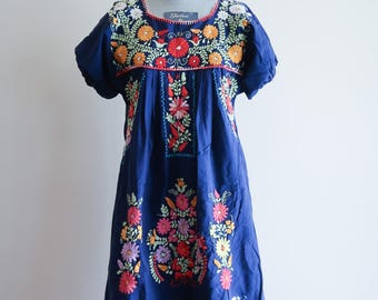 Navy blue COLORFUL embroidered short cotton Mexican boho festival dress sz. Small / Medium
