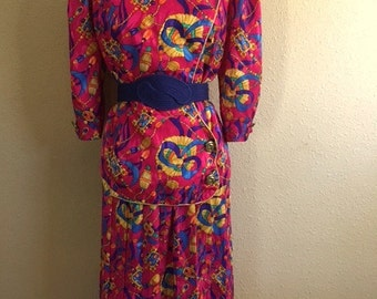 Vintage HOT PINK Iridescent Two Piece Shirt And Skirt / S.L. Fashions / Bows And Jewel Print / Womens Large Plus Size