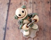 Coin Thief Grungy Bot Mini Robot Sculpture - Clay, Wire, Paint