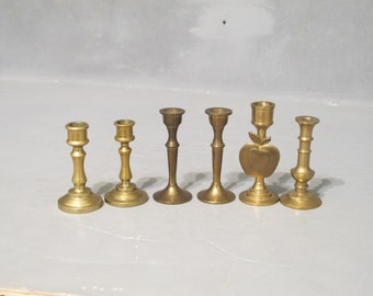 Vintage Set of 6 Mini Brass Candle Holders / Small Candlestick with Apple Detail, Collection of Rustic Candle Sticks, Mantel Primitive Decor