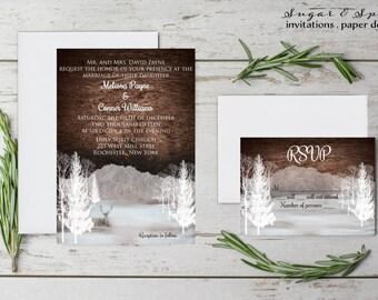 Winter Wedding Invitation, Christmas Wedding Invitation, Rustic Wedding Invitation, Wedding Invitation - Printable