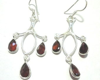 Garnet Chandelier Earrings Garnet Teardrop Gemstone Chandelier Earrings in Solid Sterling Silver Chandelier Earrings