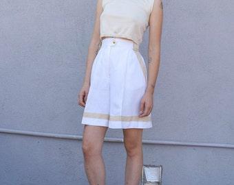Vintage Escada Linen 1980's White & Tan High Waist Culotte Wide Leg Tailored Shorts M 28