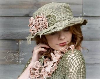 Shabby Chic Lace Hat Wide Brim Tea Party Hat