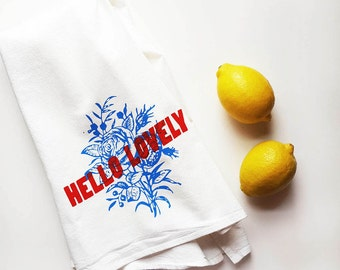 Hello Lovely Flour Sack Towel Cotton Kitchen Tea Towel Valentine's Day Gift Dish Tea Towel Bright Red Blue Teacher Nashville Wholesale