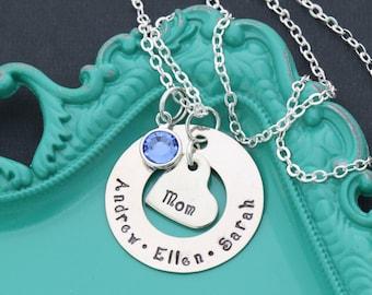 FREE SHIP • Mom Jewelry • Mom Necklace • Personalized Jewelry • Mother Necklace • Grandma Necklace • Gift for Mom • Kids Name Necklace