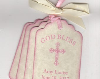 Baptism Favor Tags God Bless For First Communion Christening Baptism Religious Party With Cross Image - Rustic Vintage Style Set of 20