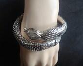Oromesh Silver Mesh Coiled Snake Bracelet – Whiting & Davis Signed 1950s Retro Jewelry