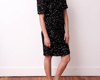 Vintage Silk Beaded Dress - Black Dress with Rainbow Beads - Size Medium Large - Laurence Kazar - Gift For Her - Vtg Black Silk Dress