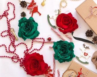 Red Christmas flower brooch, fabric, handmade