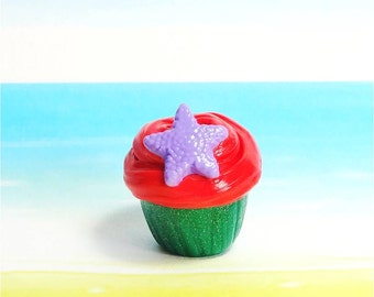 Little Mermaid Purple Starfish Cupcake Pendant, Cold Porcelain Clay Cupcake Charm, Cupcake Purse Charm, Cupcake Necklace, Food Jewelry