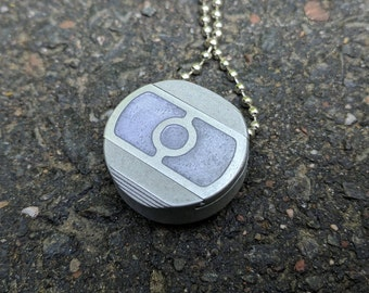 Pill Box Pendant Necklace Locket - keychain Pill Case Unisex Future Cool Discreet Tiny locket - Circle Fill Purple