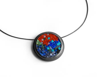 Mosaic Necklace Brooch - Mosaic Necklace - Mosaic Brooch - Colorful Mosaic Pin - Gemstone Silver Brooch - Mosaic Jewelry -