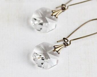Long Clear Crystal Winter Dangle Earrings on Antiqued Brass Hooks