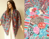 1970's Collier Campbell Floral & Geometric Print LIBERTY Veruna Wool Large Square Scarf Wrap