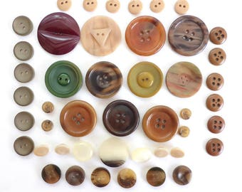 46 Vintage Celluloid Buttons in Fall Color Palette