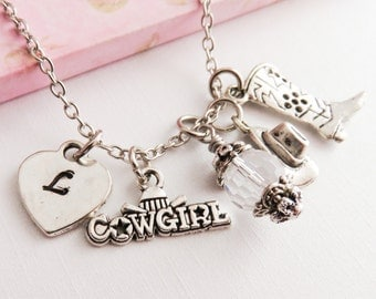 Western necklace, cowgirl charm necklaces, Cowboy boot jewelry, personalized jewelry