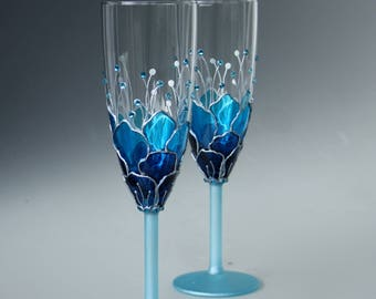 Blue Wedding Glasses, Champagne Glasses, Champagne Flute, Set of 2 Hand Painted