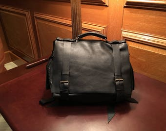 Black leather satchel, Soft leather briefcase, Custom leather bags, Briefcase satchel, Customized bags, Expandable briefcase, Customizable