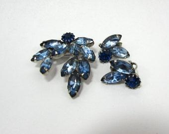 Blue Navette Rhinestone Set of Brooch & clip earrings - 500-60s