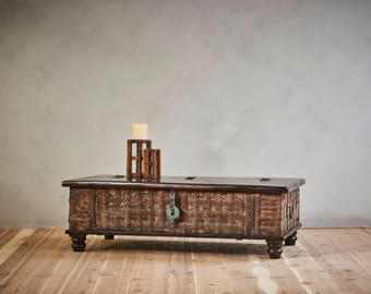 Coffee Table Reclaimed Antique Indian Pitara Wedding Chest Trunk Table Moroccan Decor Mediterranean Interior