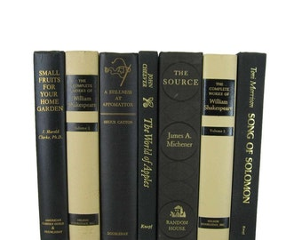 Black Cream Decorative Books , Black Vintage Books , Home Decor, Old Books , Vintage Photo Props, Table Setting , Wedding Decor