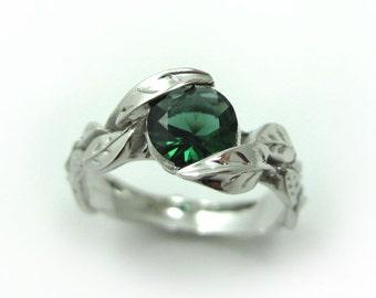 Engagement Leaf Ring, Leaf Engagement Ring, White Gold Leaf Ring, Gold Leaf Ring, Leaves Ring, Natural Floral Forest Green Gemstone Ring