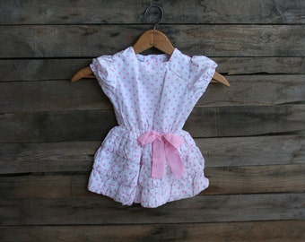 SUPER SALE - Vintage Children's Pink & White Polka Dot Bubble Dress by Fashion Land