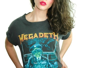 Vintage MEGADETH Shirt Concert shirt Band Tee Heavy Metal Thrash Metallica Iron Maiden Slayer Black Sabbath Nirvana Sonic Youth Testament L