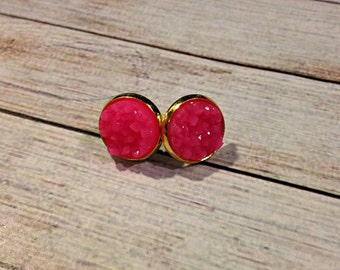 The Druzy Earrings in Neon Pink | Pink Druzy Earrings | Pink Earrings | Pink Druzy Jewelry | Druzy Jewelry | Bubblegum Pink | Pink Jewelry