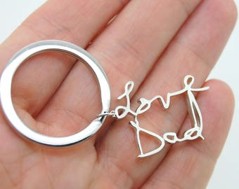 Handwritten Keychain - Sterling Silver Personalized Keychain Gift For Father - Remembrance Gift Using Actual Handwriting