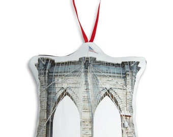 Brooklyn Bridge Ornament - Mini Stuffed Pillow - Holiday Decoration - NYC Souvenir - Hanging Cushion