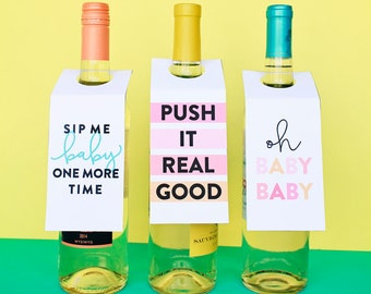 Baby Shower Decor, Gift For New Mom, Baby Shower Wine Tags, Baby Sprinkle Decor, DIY Printable Baby Shower Ideas, Wine Tags For Shower
