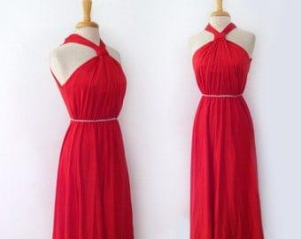 SOLD 1970s lipstick red mock halter top empire waist column maxi dress, size xsmall