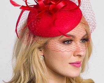 "Red Fascinator - ""Juliet"" Felt Round Sinamay w/ Feathers & Satin Ribbon Fascinator Headband"