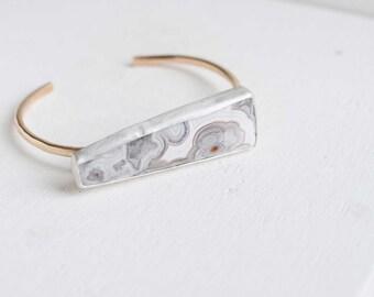 Elongated Trapezoid Agate Bracelet | Custom Agate Bracelet | 14k Gold Fill + Sterling Silver