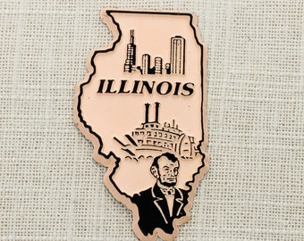 Vintage Illinois State Magnet Chicago Travel Tourism Summer Vacation Silhouette Memento | Abraham Lincoln USA America | Refrigerator 5S