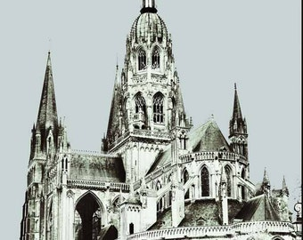 French Gothic Cathedral, Black White Gray Photo, 5x7 or 8x10 Architecture Medieval Europe