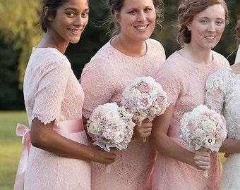 Bridesmaid bouquet, small bouquet, blush bridesmaids bouquet, fabric flowers bouquet