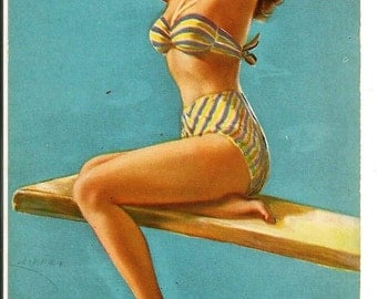 Vintage Pin Up Girl Day Post Card Postcard Strawberry Blonde Redhead Ginger Striped Bandeau Bikini Blue Background