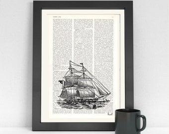 Art Print -Vintage Ship Print - Dictionary art, wall art nautical print, Ship poster print, Wall art Nautical decor SEA013