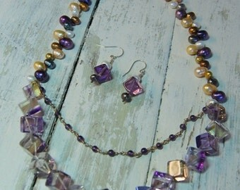 Double Strand Ametrine, Amethyst, and Fresh Water Pearl Necklace & Earring Set