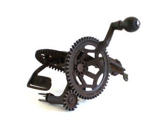 Hudson Parer Co Antique Apple Peeler Cast Iron Hand Crank Vintage