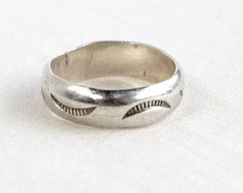 Southwest Ring Band Size 7 .5 Stamped Crescent Moon Sterling Silver Vintage Native American Tribal Design