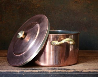 Vintage copper pot, copper Dutch oven, Portugal